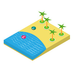 Isometric of a beach with palm trees vector