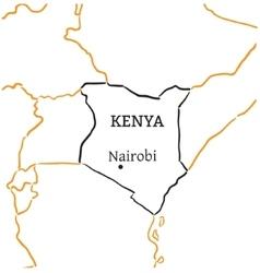 Kenya hand-drawn sketch map vector