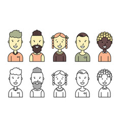 Male and female faces avatars flat style vector
