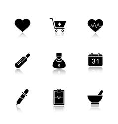 Medical drop shadow black icons set vector