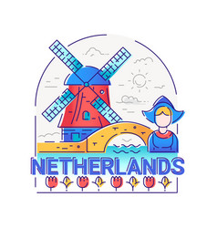 Netherlands - modern line travel vector