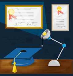 Office with diplomas and study tools vector