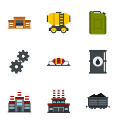 Oil and petrol icons set flat style vector