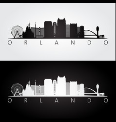 orlando usa skyline and landmarks silhouette vector image