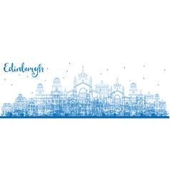 Outline edinburgh skyline with blue buildings vector