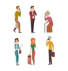 People talking phone character vector image vector image