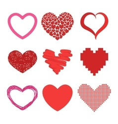 Red heart icons vector image vector image
