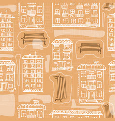 seamless pattern of hand drawn houses and benches vector image vector image