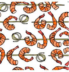 seamless shrimp on wood stick prawn kebab vector image vector image