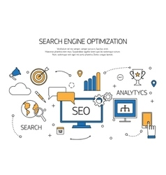 Search engine optimization technology outline vector image