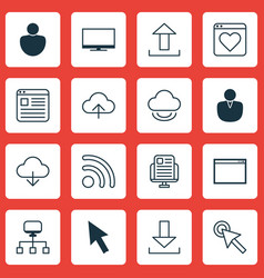 Set of 16 internet icons includes blog page send vector