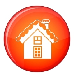 Small snowy cottage icon flat style vector image