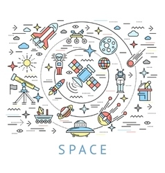 Space Line Round Composition vector image vector image