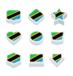 tanzania flags icons and button set nine styles vector image vector image