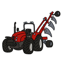The red tractor with the plow vector