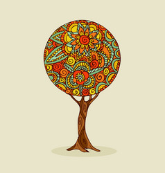 Tree mandala art in traditional ethnic boho style vector
