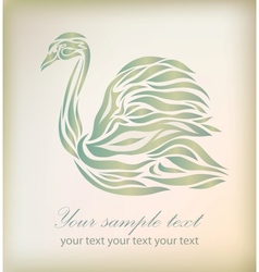 Vintage floral swan on background vector