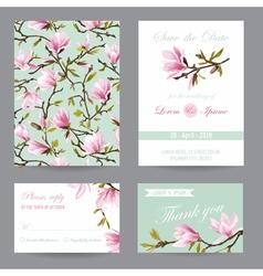 Wedding invitation congratulation card set vector