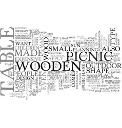 Wooden picnic table text word cloud concept vector