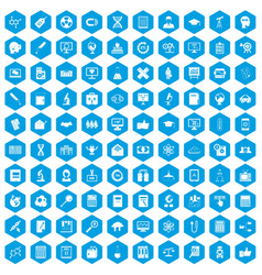 100 analytics icons set blue vector