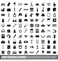 100 goods icons set simple style vector