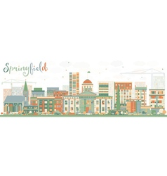 Abstract springfield skyline with color buildings vector