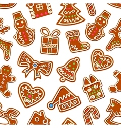 Christmas gingerbread with icing seamless pattern vector