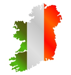 Map of ireland with flag vector