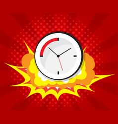 Abstract boom with clock comic book pop art vector