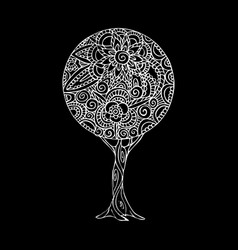 Tree mandala art in black and white vector