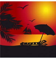 Sunset at the seaside vector