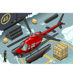 Isometric arctic emergency helicopter in front vector