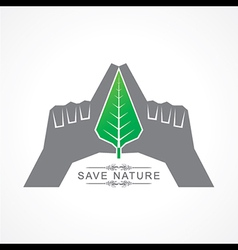 Save nature concept with leaf vector