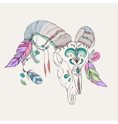 Hand drawn ram skull with colorful feathers vector