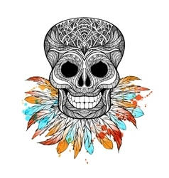 Tribal Skull With Feathers vector image