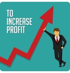 Businessmanraises in vekrh arrow graphic vector image