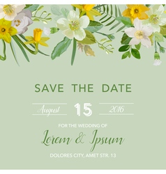 Wedding Invitation Card - with Floral Lily Blossom vector image