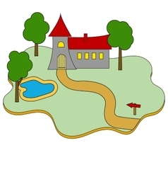Building castle flat icon on white vector