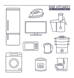 Home appliances line icons vector