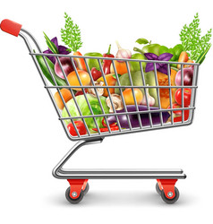 Shopping basket of fresh fruits and vegetables vector