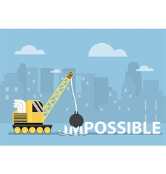 Crane making the impossible possible vector