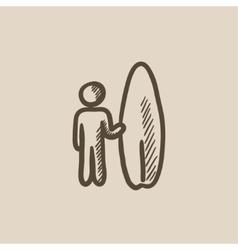 Man with surfboard sketch icon vector