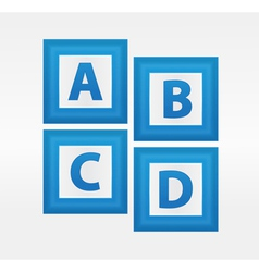 Alphabet Letters in Blue Boxes vector image