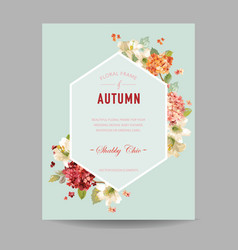 Autumn hortensia flowers for invitation vector