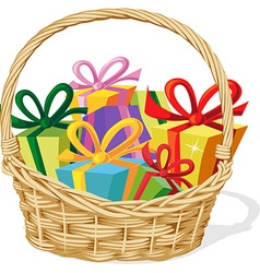 basket full of gift isolated on white - vector image vector image