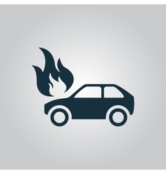 Car fire icon vector