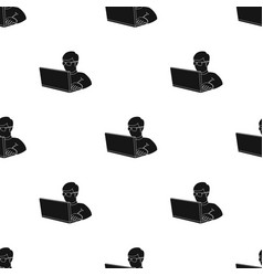 Computer hacker icon in black style isolated on vector