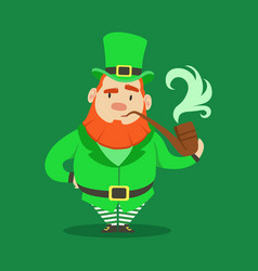 cute cartoon dwarf leprechaun standing with vector image vector image