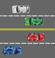 Different cars top view position set on the road vector
