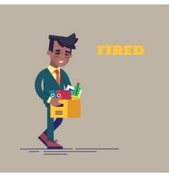 Dismissed black man carrying box with her things vector